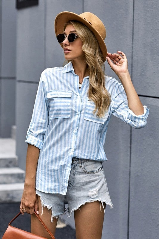 Classic Baby Blue Button Up