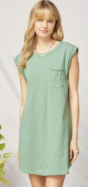 Sleeveless T-shirt Dress with Pocket