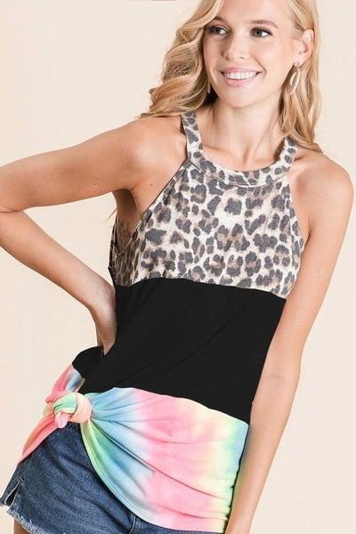 Leopard and Tie Dye Halter Top