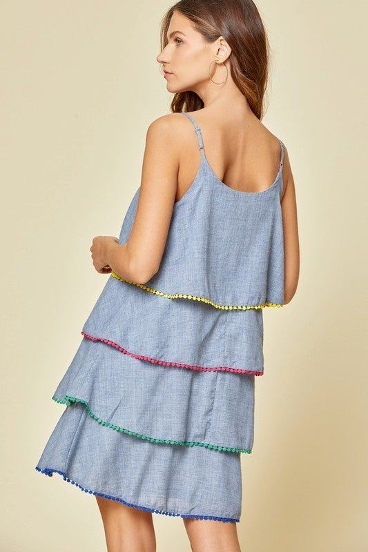 Chambray Trim Ruffle Dress