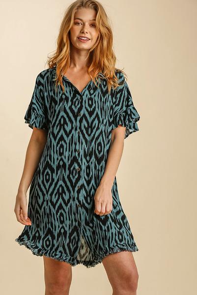Seaside Ikat Shirt Dress