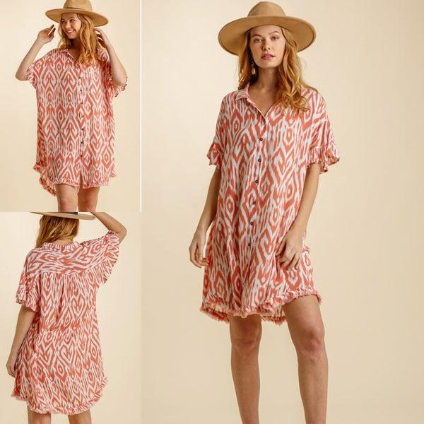 Aztec Coral Shirt Dress