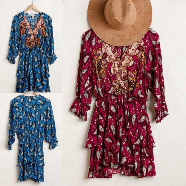 Paisley Ruffle Wrap Dress *Final Sale*