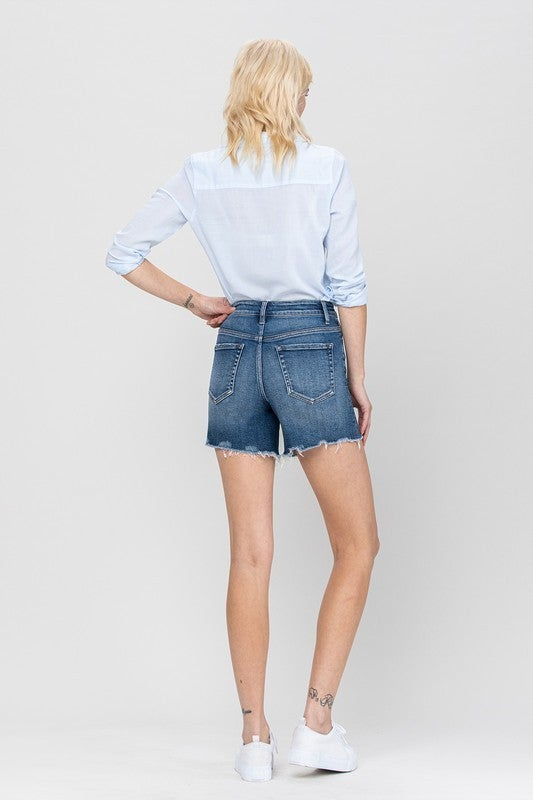 High Rise Exposed Buttons Vervet Shorts