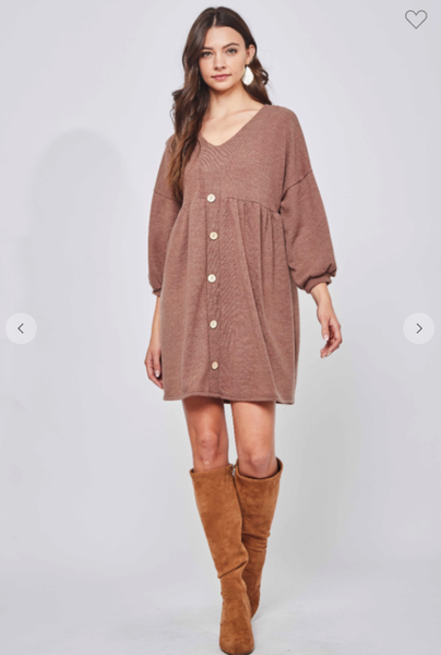 Baby Doll Button Front Sweater Dress