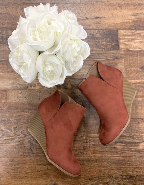 Rust Wedge Bootie
