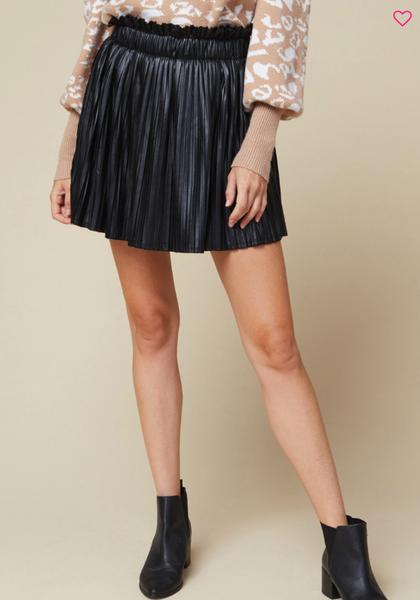 Pleather Pleated Mini Skirt