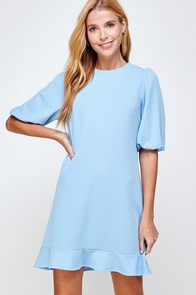 Puff Sleeve with Ruffle Hem Dress