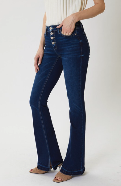 Button Front Bell Bottom Jeans