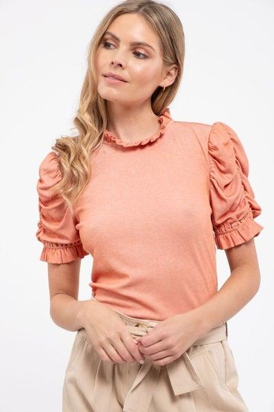 Peachy Keen Ruffle Sleeve