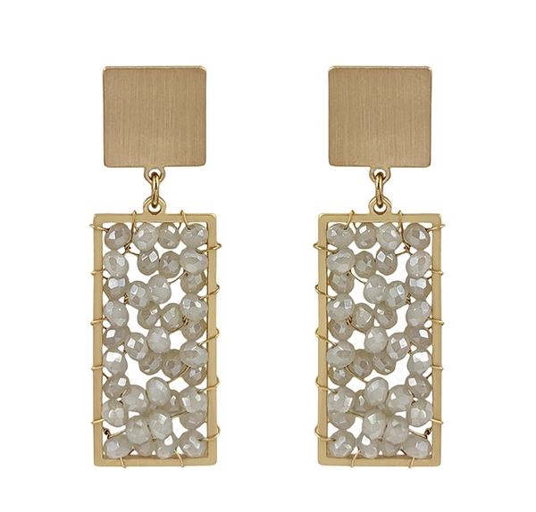 Crystal Rectangle Earrings