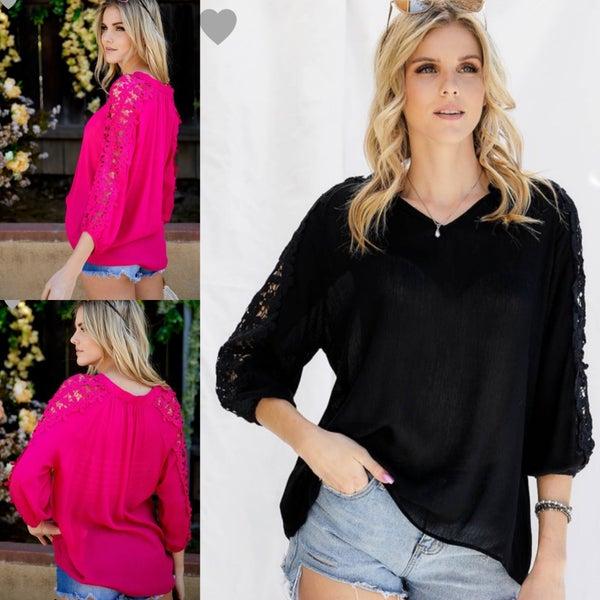 Floral Lace Sleeve Blouse *Final Sale*