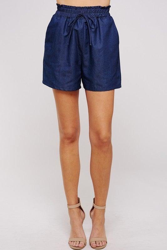 Smocked Denim Shorts