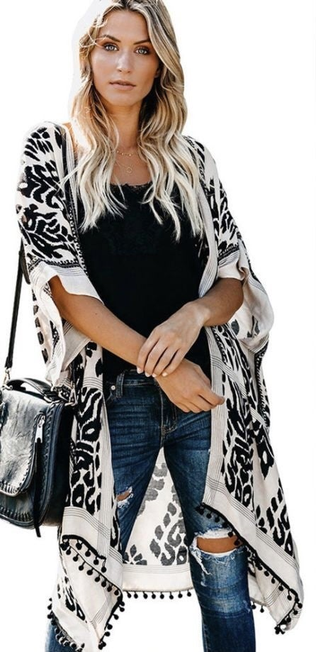 Damask Cover Up Poncho