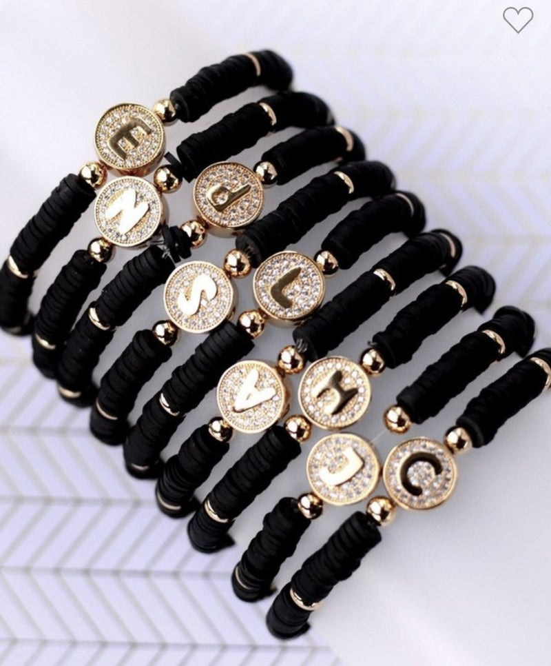 Black Band Letter Bracelet
