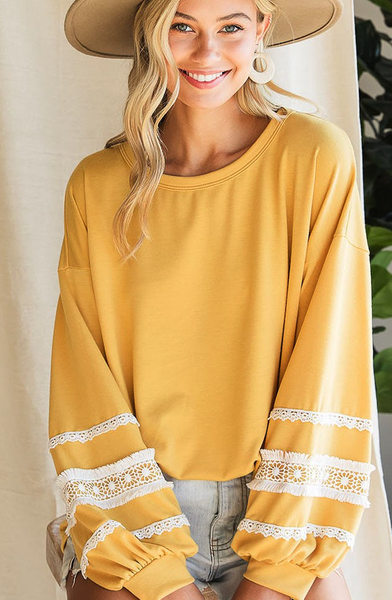 Crush Crochet Lace Sleeve Top