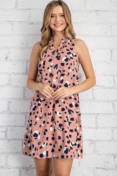 Animal Print Ruffle Collar Dress