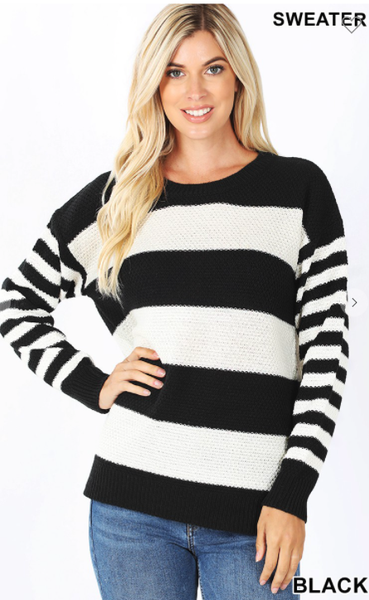 Striped Sweater Happy