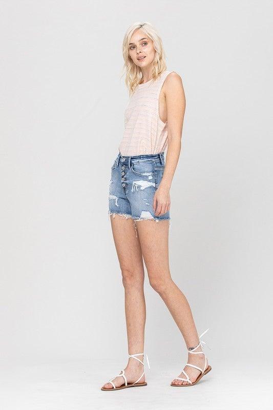 High Rise Button Vervet Shorts