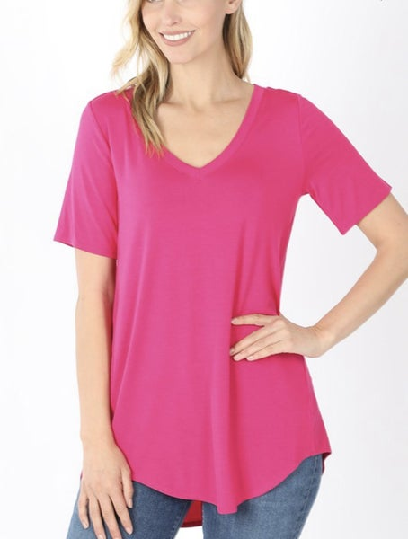 V Neck Basic Tunic