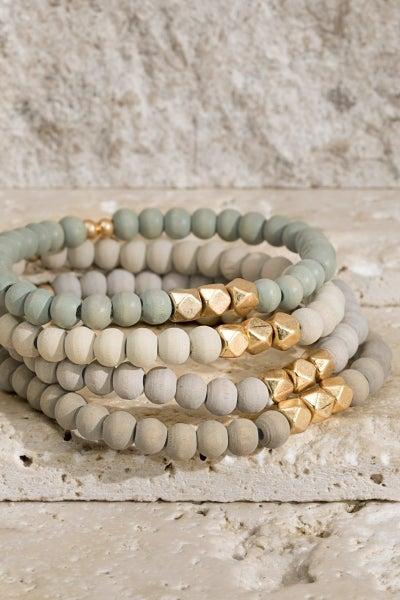 Earth-tone Wooden Bead Stretch Bracelet