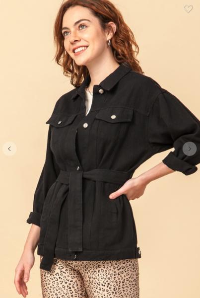 Belted Black Denim Jacket