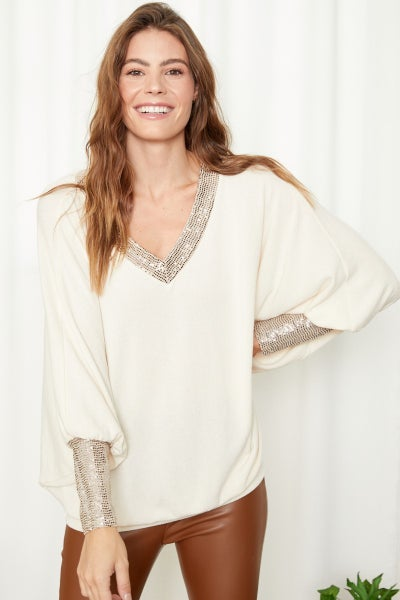 Sequin V Neck Sweater