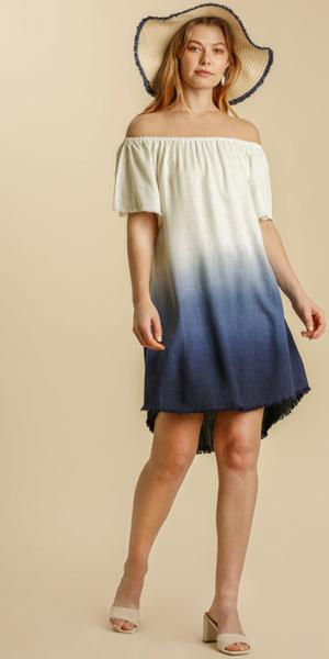 Linen Blend Dip Dye Off Shoulder Dress