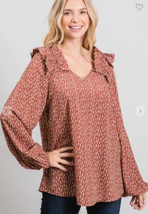 Zoe Ruffle Sleeve Blouse *Final Sale*