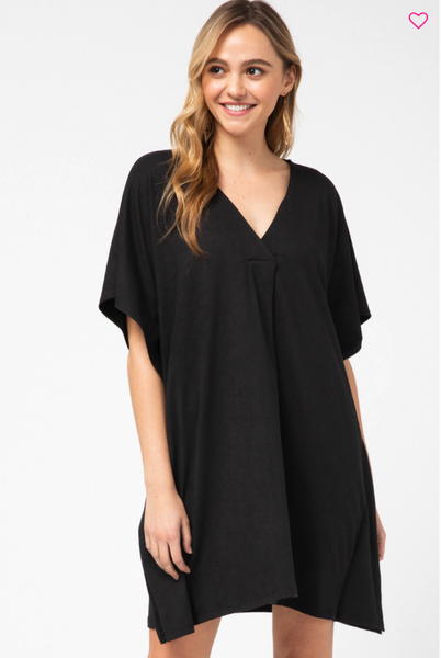 Batwing Pleated V Neck Dress