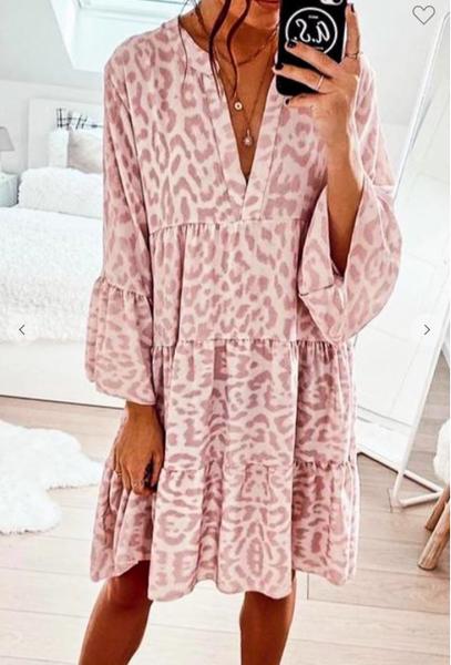 Hayley Pink Leopard Dress