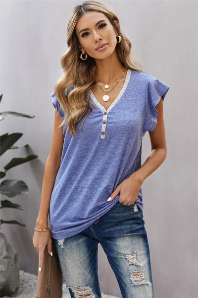 Carly Button Front V-Neck Tee