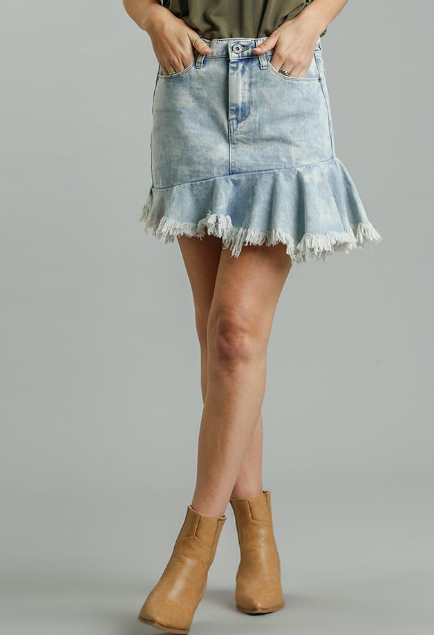 Denim Skirt Unfinished Hem