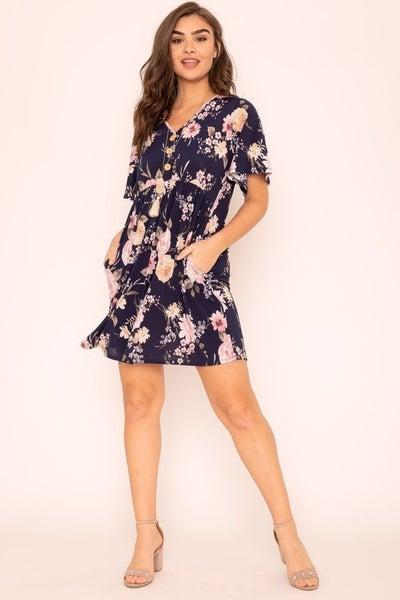 Floral Button Accent Mini Dress