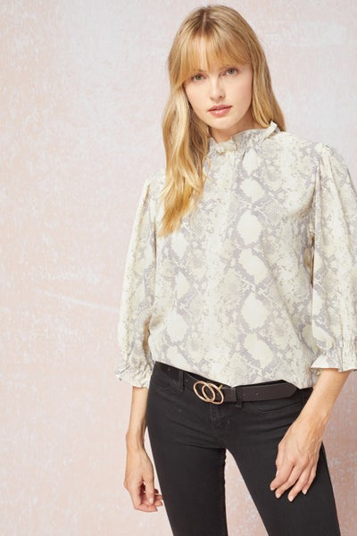 Amber Ruffle Neck Blouse