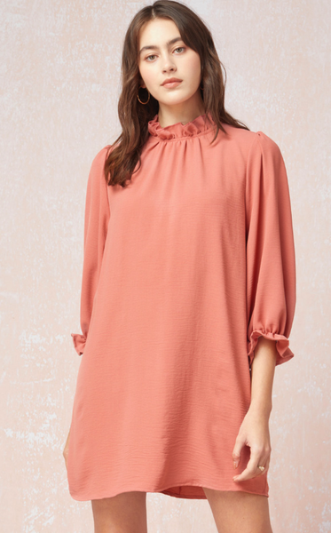 The Jill Ruffle Neck Dress