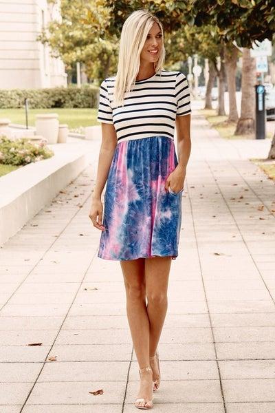 Stripe and Tie Dyed Mini Dress