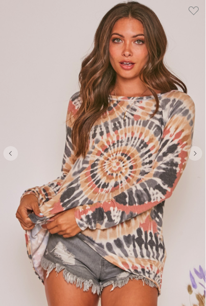 Spiral Tie Dye Knit Top