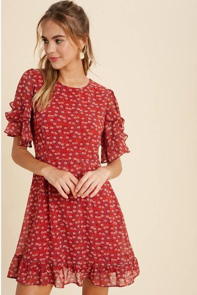 Floral Ruffled Mini Dress *Final Sale*