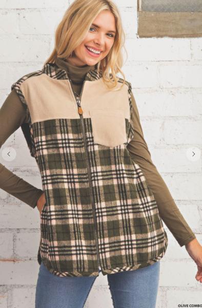 Connie Plaid Reversible Fleece Vest