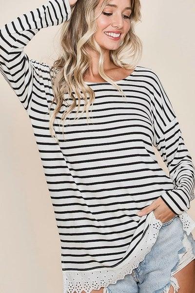 Lace Trim Striped Top