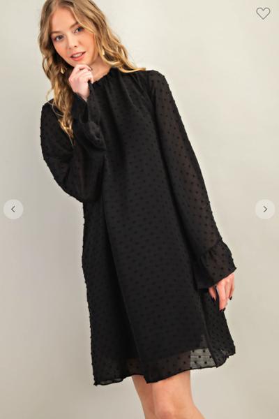 Swiss Dot Classic Bell Sleeve Dress