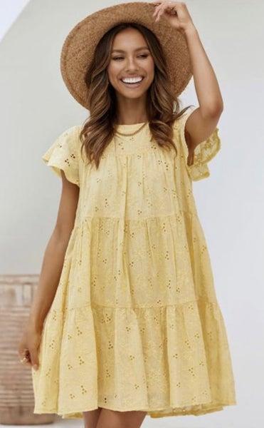 Yellow Eyelet Daryn Dress