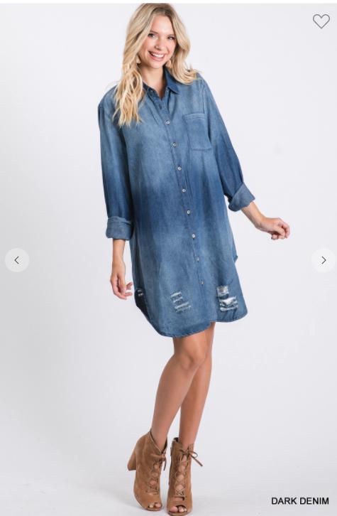 Holly Distressed Denim Dress *Final Sale*