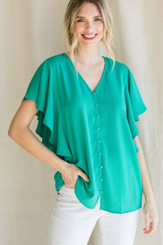 Button Front Ruffle Blouse
