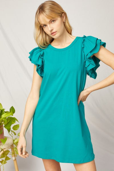 Lisa Ruffle Sleeve Dress