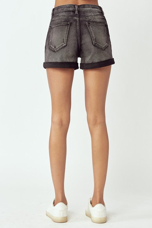 High Rise Rolled Up Shorts