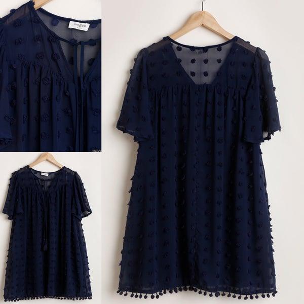 Pom Hemline Navy Dress *Final Sale*
