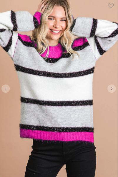 Lauren Lurex Stripe Sweater