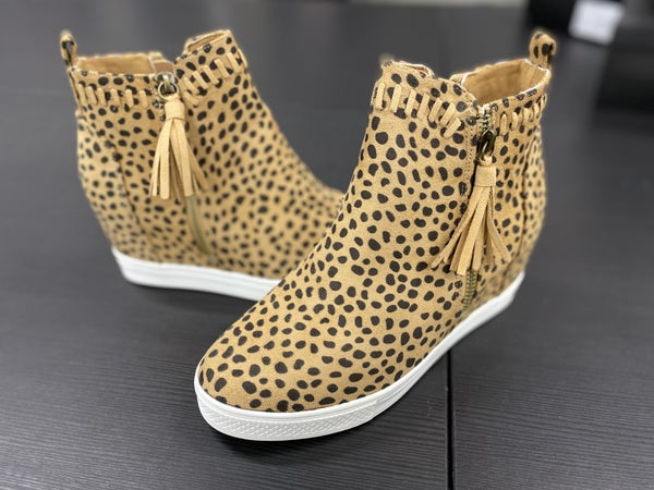 Leopard Hidden Wedge Bootie